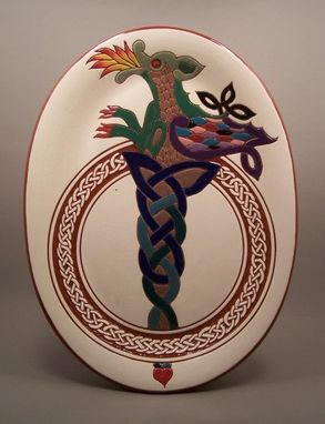 Custom Made Hand -Carved Redware Celtic Dragon Platter