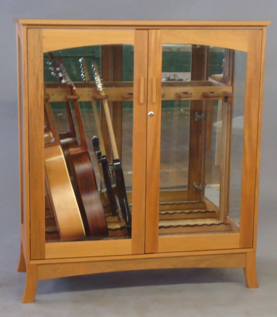 Hand Made Asian Modern Guitar Cabinet By Katahdin Studio