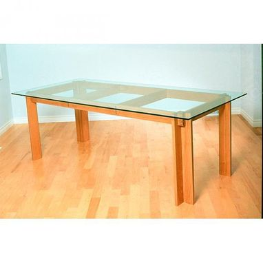 Custom Made Cherry Dining Room Table With Glass Top