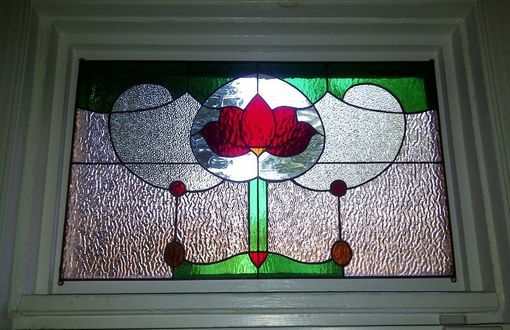Custom Made Stained Glass Window Panel - Transom Traditional Yet Unique  (Tw-22)