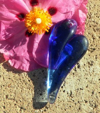 Custom Made Large Cobalt Blue Glass Heart Pendant