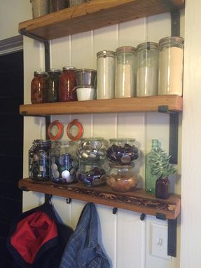 Custom Made Reclaimed Shelves With Hand Made Metal Brackets