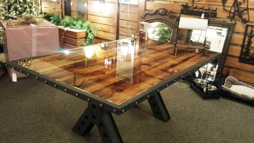 Custom Made Modern Industrial Rustic 6 Foot Dining Table, Conference Table Made Of Metal And Reclaimed Wood