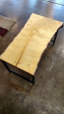 Custom Made Mulberry Waterfall Edge Coffee Table With Steel Legs