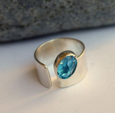 Custom Made Swiss Blue Topaz Ring