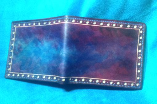 Custom Made Mens Handmade Bifold Wallet With Brogue Styling And Hand Dyed Effects