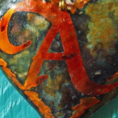 Custom Made Solid Copper Heart Ornament With Calligraphic Monogram
