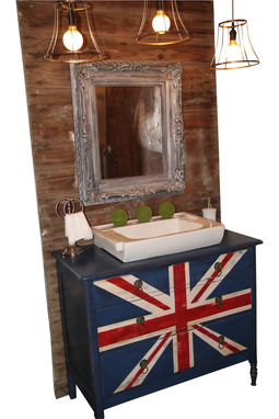 Custom Made Reclaimed Vintage Brit Bathroom Vanity Using Annie Sloan Chalk Paint