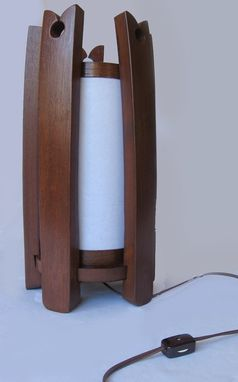 Custom Made The Castle, Recycled Oak Wine Barrel Staves Lamp, Shoji Paper