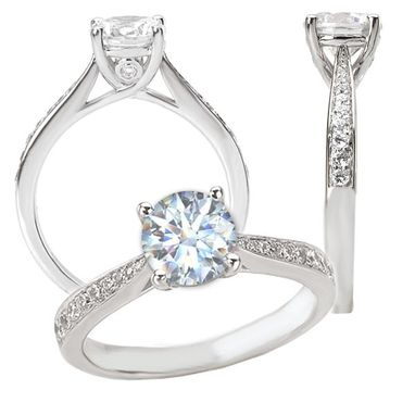 Custom Made 18k White Gold Cathedral Style Engagement Ring Semi-Mount, Holds A 6.5mm Round Center