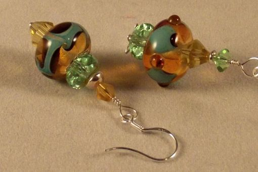 "Custom Made Unique One Of A Kind Lampwork Glass Bead Earrings ""Missymatched Amber"""