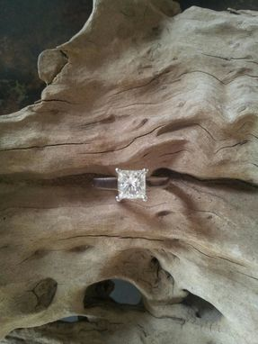 Custom Made One Carat Princess Cut Diamond In 14 Kt White Solitaire