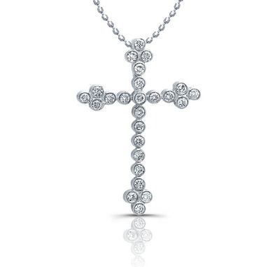 Custom Made Cross Necklace - Diamond Bezel Set Cross