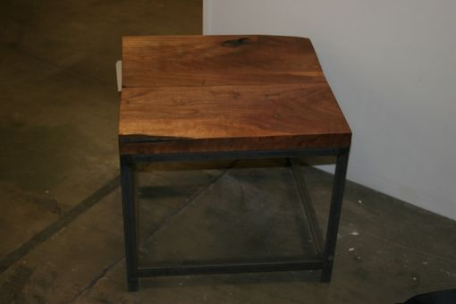 Custom Made Industrial Walnut Top End Table
