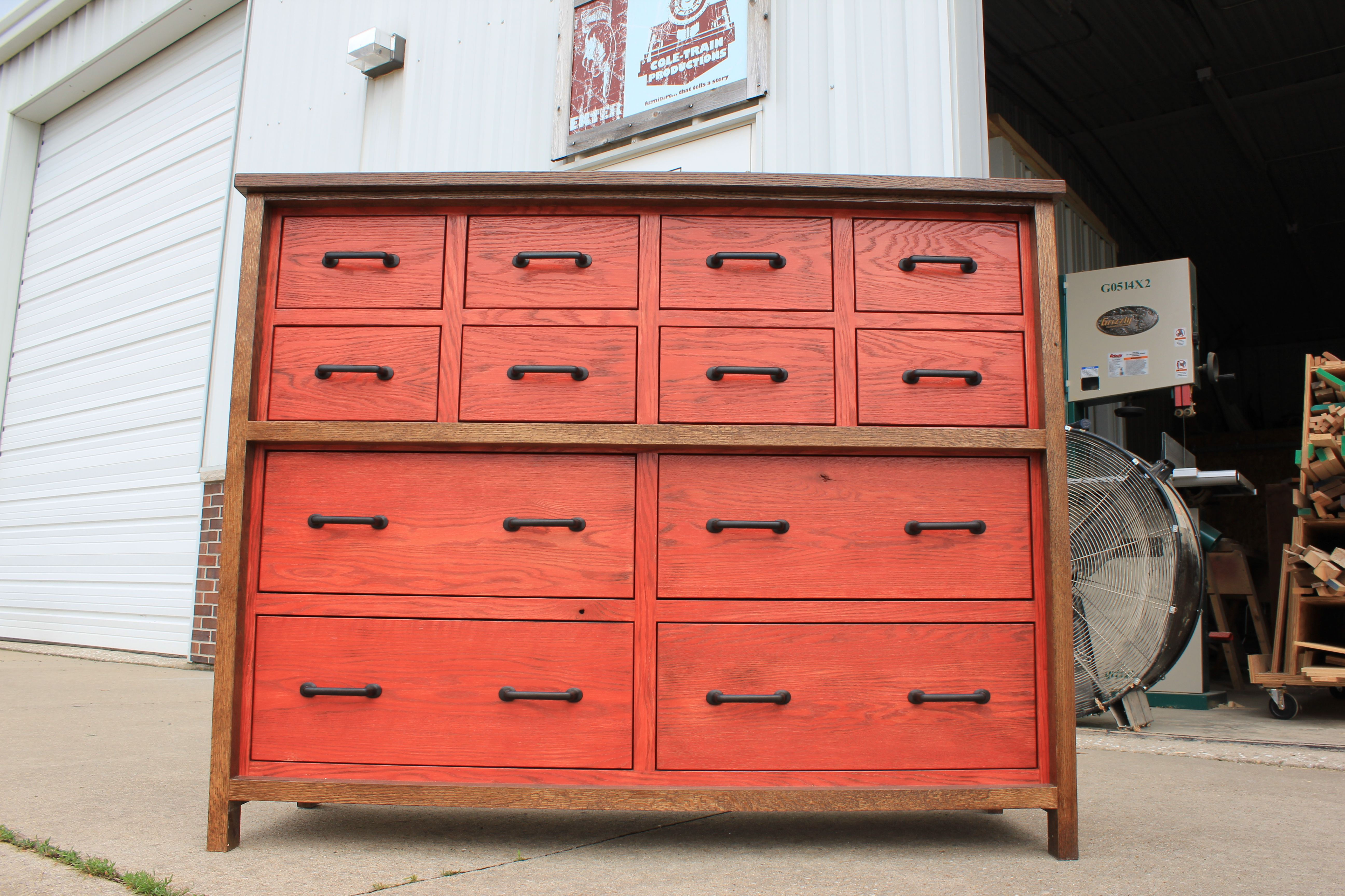 Custom Made Oak 12 Drawer Chest Of Drawers By Cole Train