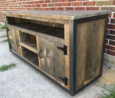 Custom Made Rustic Industrial Reclaimed Wood Entertainment Center