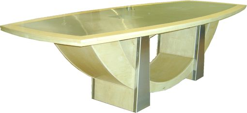 Custom Made Maple And Stainless Steel Bowed Conference Table