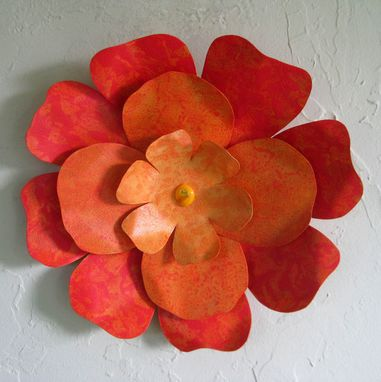 Custom Made Metal Hibiscus Flower Wall Art Sculpture Reclaimed Metal Orange 13 Inches