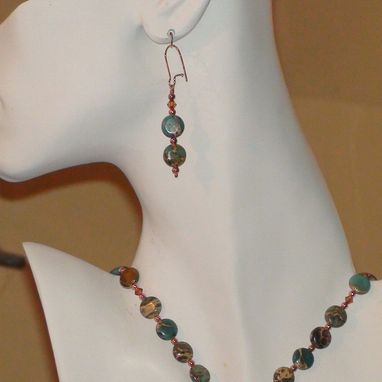 Custom Made Aqua Terra Jasper And Swarovski Crystal Bolo Tie Necklace In Copper