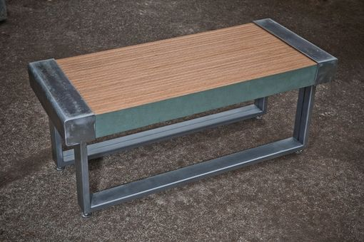 "Custom Made Recycled Wood And Metal Bench ""Cooper Bench''"
