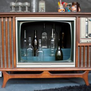 Vintage Tv Television Tail Bar Cabinet By Daniel Knispel