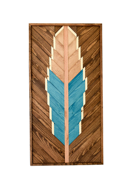 Custom Made Blue Feather Wood Artwork