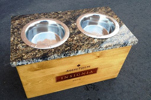Custom Made Wine Crate Dog Bowl With Granite Top