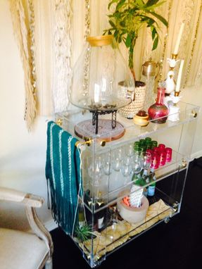 Custom Made Bar Cart - Handcrafted Lucite/Acrylic Deluxe  With Button Accents