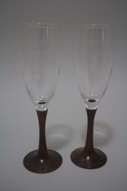 Custom Made Wedding Bride And Groom Toasting  Flutes - Turned Wood Stems