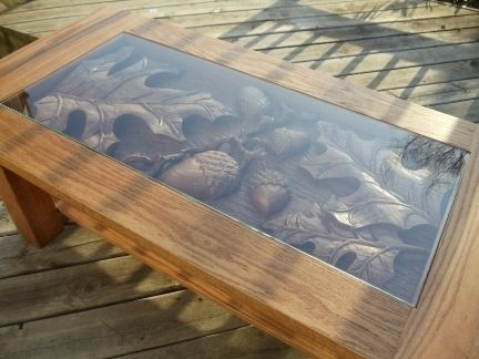 Custom Made Oak Coffee Table Oak Leaf Amp Acorn Scene Hand