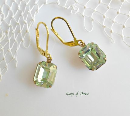 Custom Made Earrings Vintage Citrine Faceted Rhinestones With Gold Plated Earwires