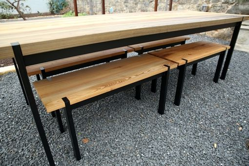 Custom Made Sinker Cypress Outdoor Table And Benches