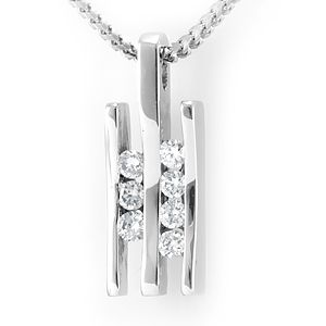 Custom Made Diamond Double Bar Pendant In 14k White Gold, Diamond Pendant, Ladies Pendant