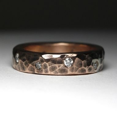 Custom Made Rustic Copper And Diamond Band