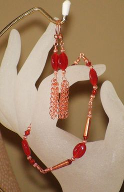 Custom Made Carnelian And Swarovski Crystal Bracelet & Earring Set In Copper