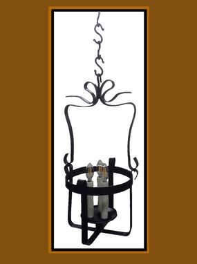 Custom Made 3 Light Steel Hand Bent Basket Pendant With Rustic Black Finish
