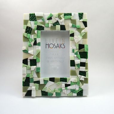 Custom Made Light Green Mosaic Picture Frame