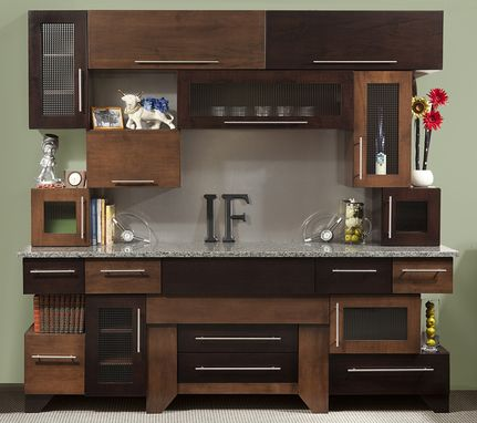 Custom Made Cubist Cabinets Kitchen Modern Clean In Tiger Maple & Glass - Expresso & Coffee Stains