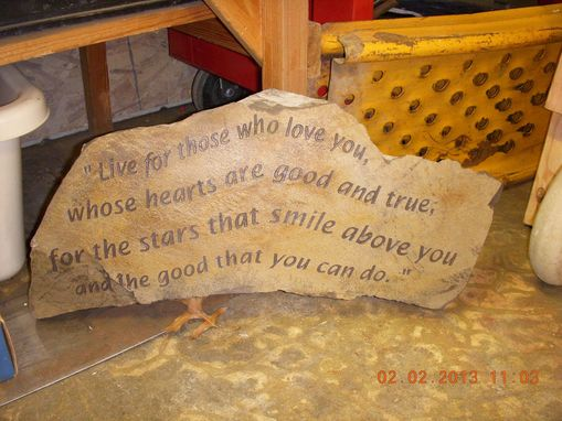 Custom Made Engraved Stone, Donated To The Sacramento Waldorf School