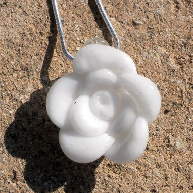 Custom Made Sterling Silver Necklace With White Glass Rose Pendant