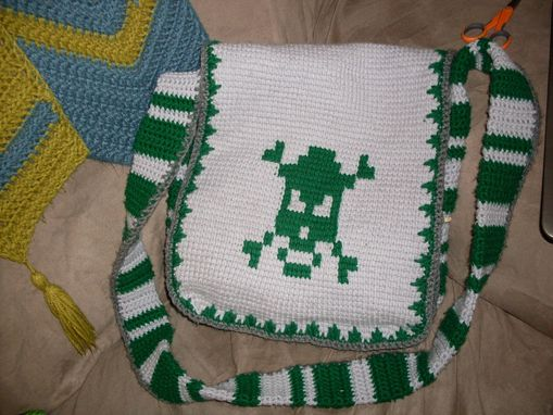Custom Made Men's Messenger Bag In Tunisian Crochet
