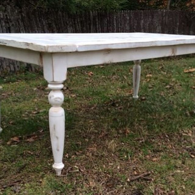 Reclaimed Wood French Country Farmhouse Table With Beautiful Turned Legs by