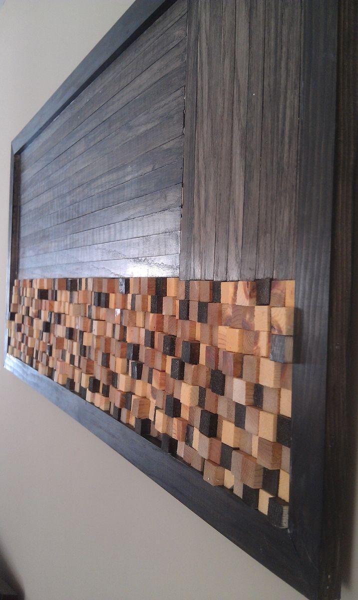 handmade wood mosaic wall artbuilt concrete | custommade