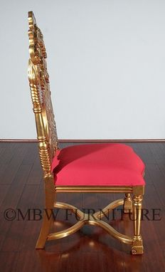 Custom Made Solid Mahogany Gold French Rococo Dining Side Chair