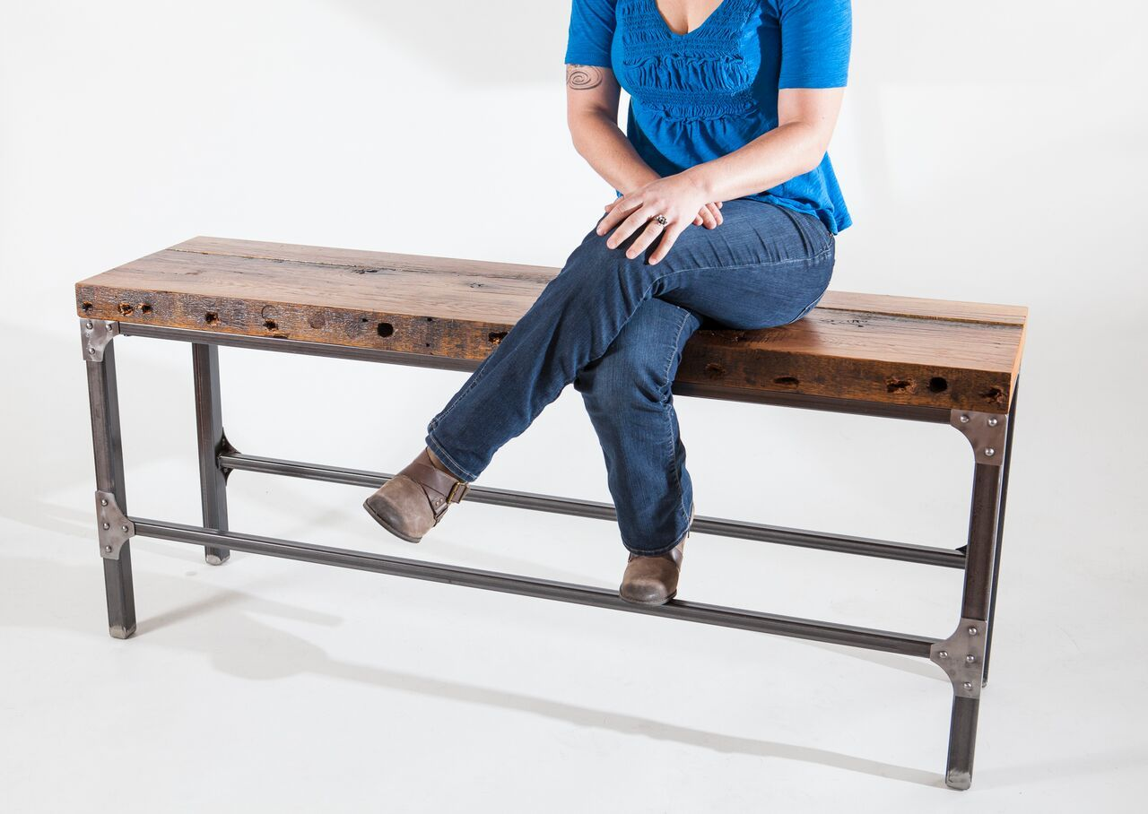 Custom Made Rustic Industrial Bench Console Table By Iron