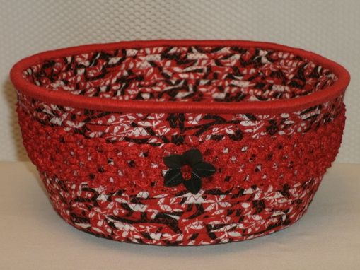 Custom Made Cloth Bowl. Clothesline Handwrapped In Fabric. Large Round -Black Red White