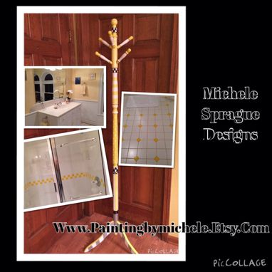 Custom Made Painted Coat Rack//Clothes Tree//Whimsical Painted Furniture