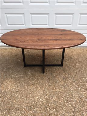 Custom Made Mid Century Dining Table - Oval Table -Metal Base