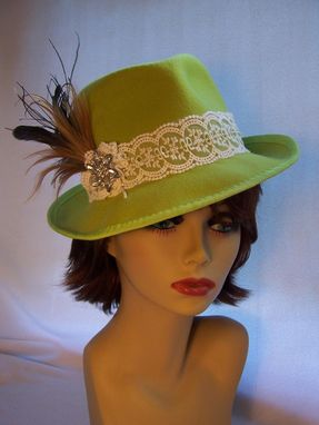 Custom Made Lime Green Trilby With Feathers