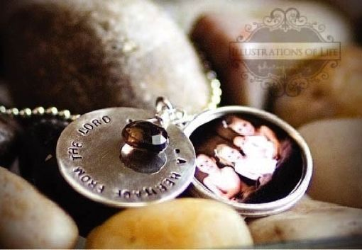 Custom Made Layered Locket In Sterling Silver With Hand Stamp